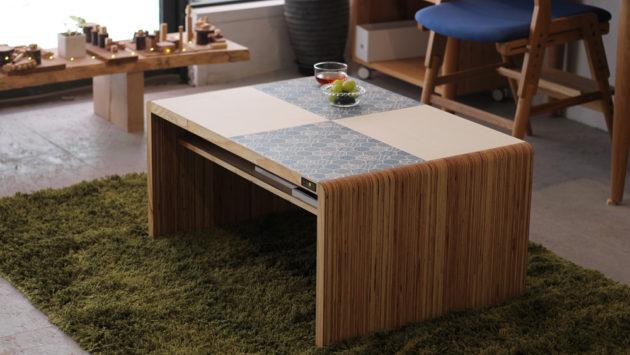 和柄センターテーブル(和柄ブルー&ホワイト)
