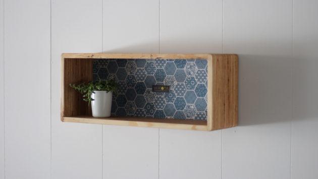 和柄箱型飾り棚(和柄ブルー)
